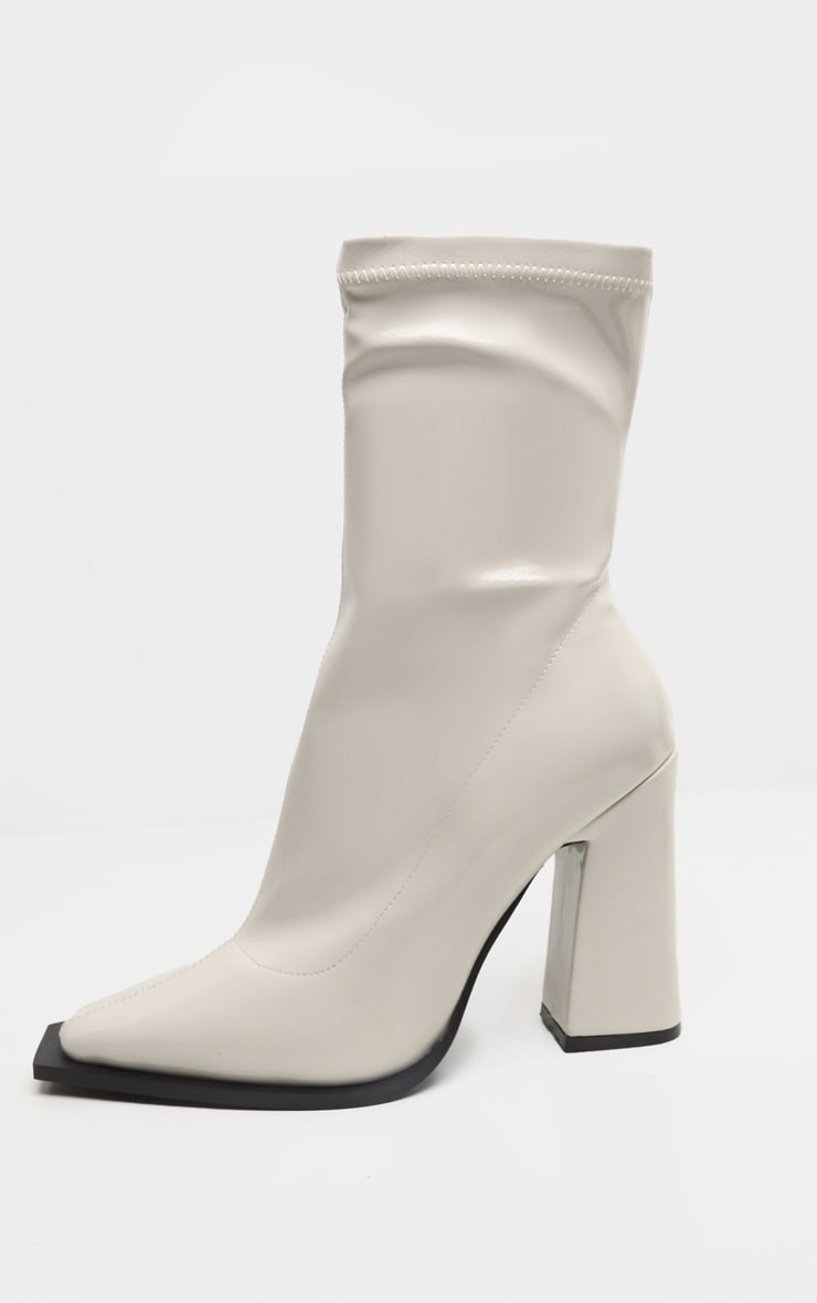 Off-White Square Toe Block Heel Ankle Sock Boot 4