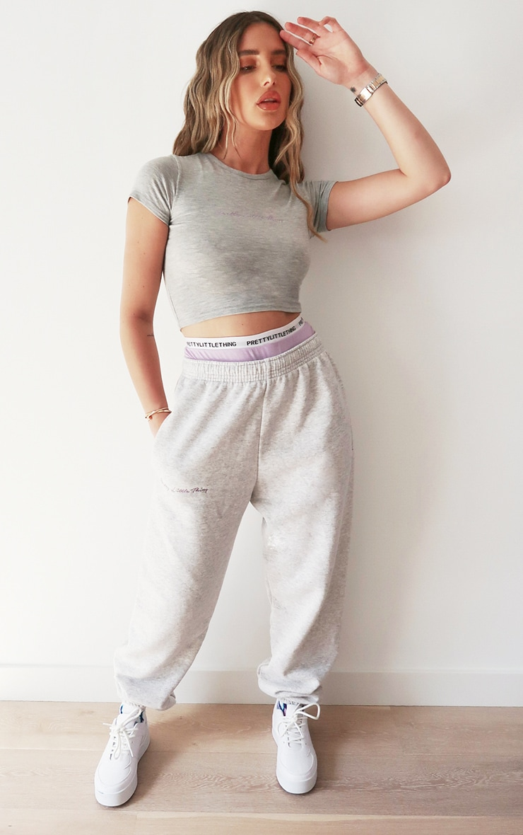 PRETTYLITTLETHING Ash Grey Embroidered Joggers 1