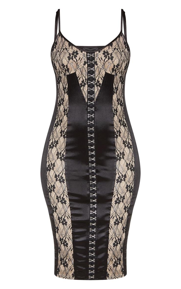 Black Satin Strappy Eyelet Lace Detail Midaxi Dress 4