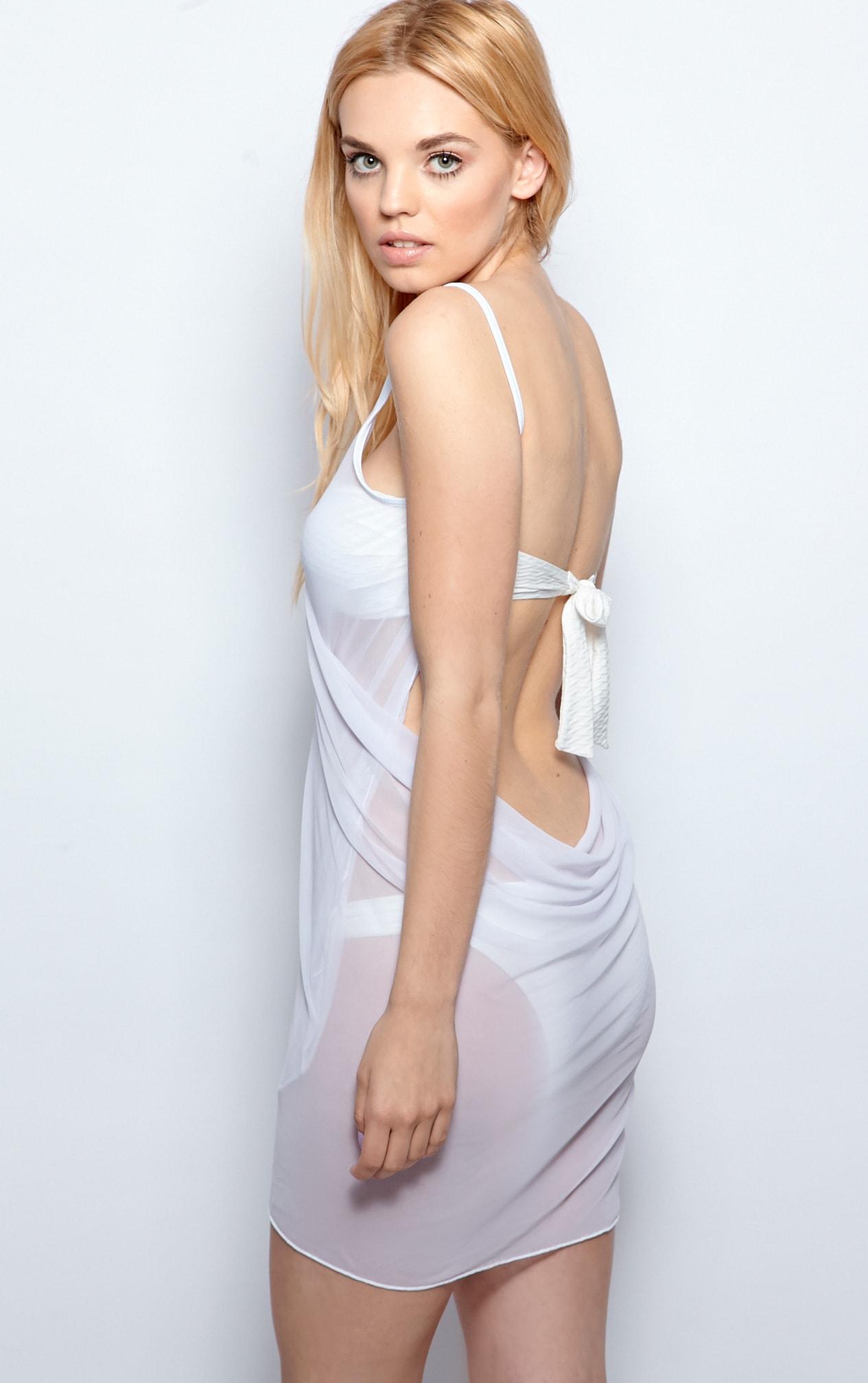 Raquel White Sheer Wrap Around Cover Up 2