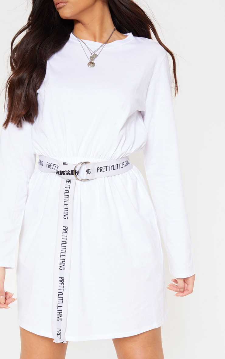 White Elasticated Waist Long Sleeve T Shirt Dress 4