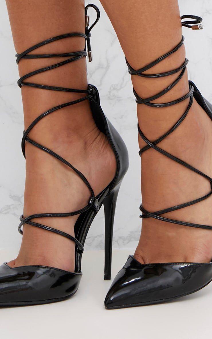 Black Pointed Patent Stiletto Heels 5