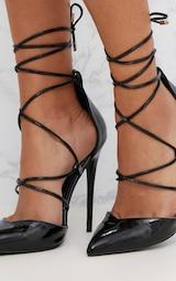 Black Pointed Patent Stiletto Heels 5
