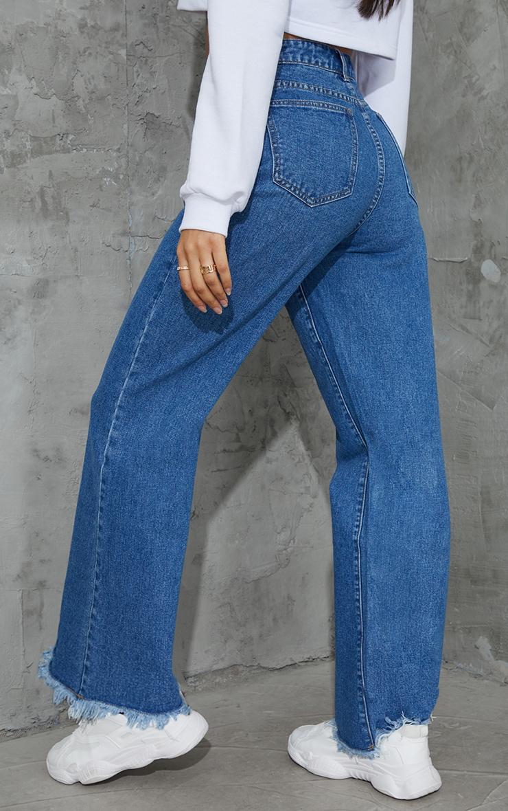 Mid Blue Wash Denim Frayed Hem Wide Leg Jeans 3