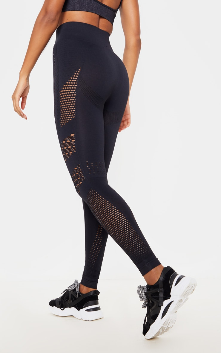Black Contour Seamless Cut Out Leggings 4