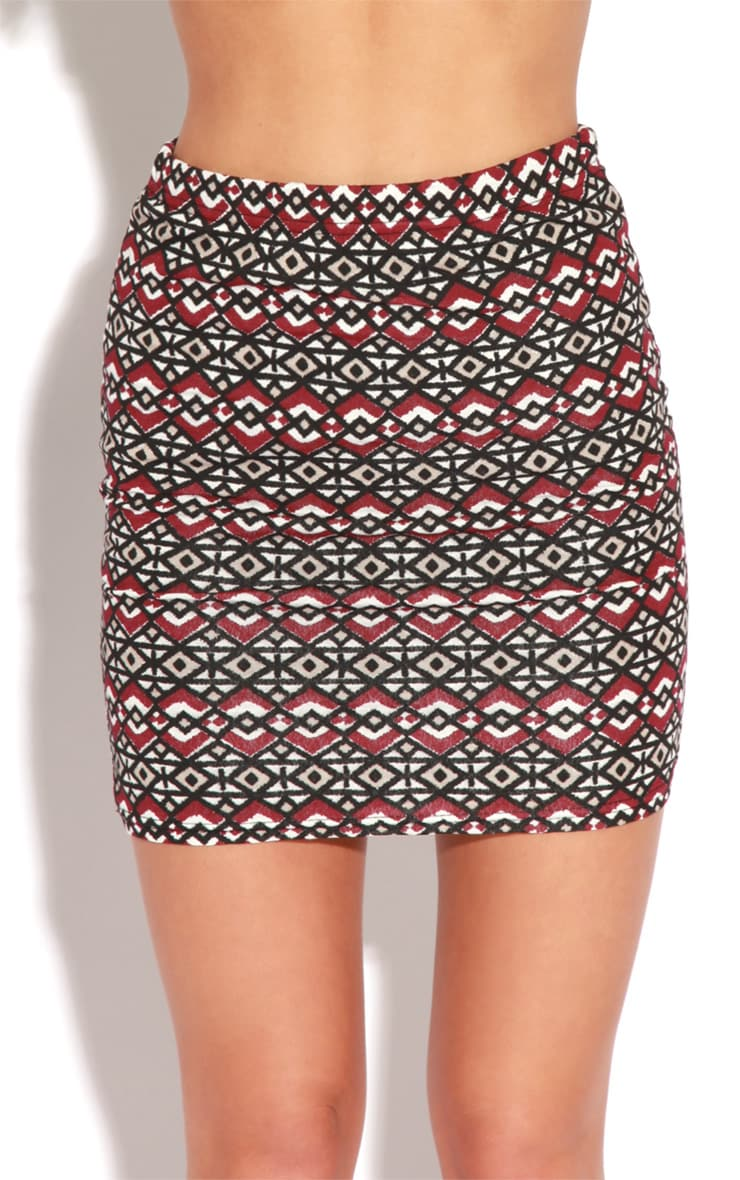 Paige Burgundy Aztec Print Bodycon Skirt 5