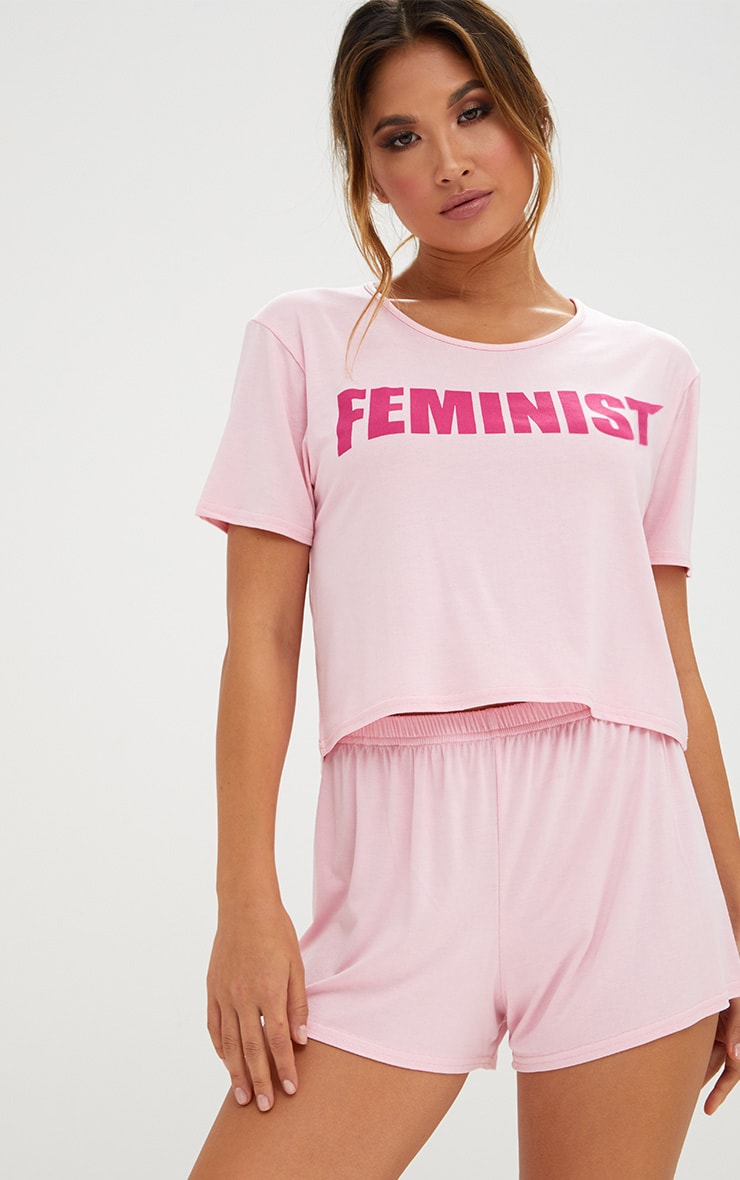 Baby Pink Feminist Slogan PJ Set 1