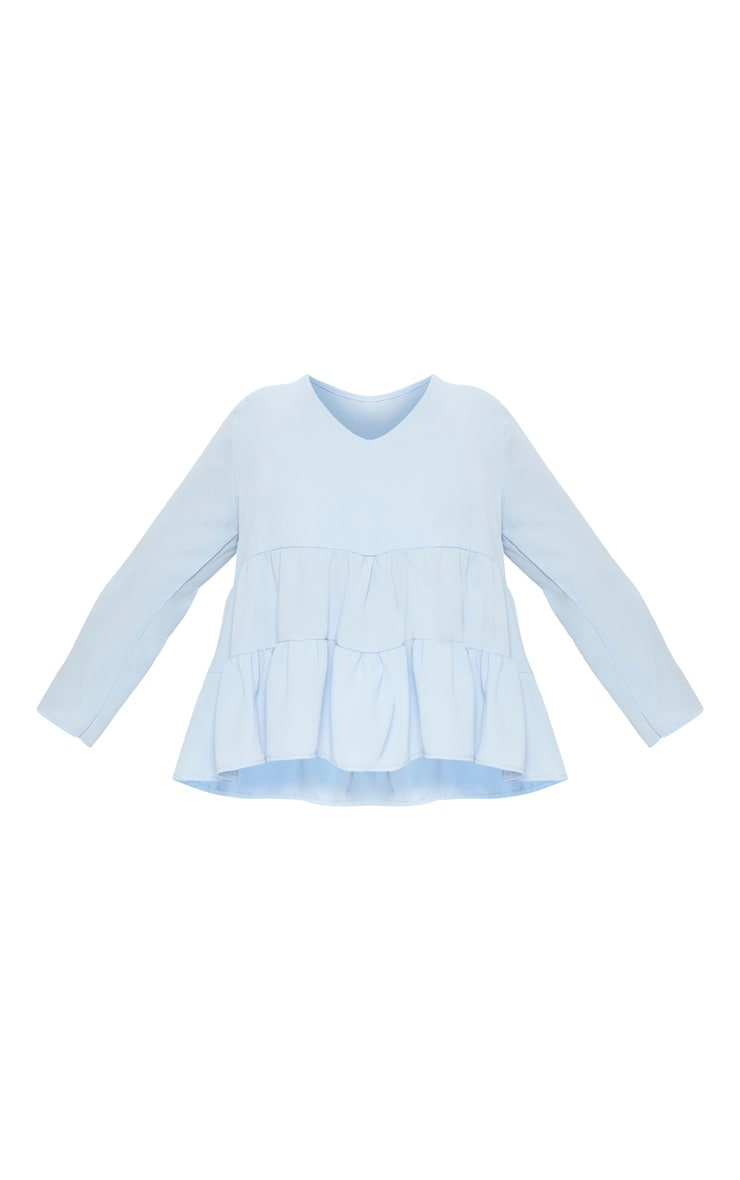 Plus Baby Blue Plunge Tiered Shirt 3