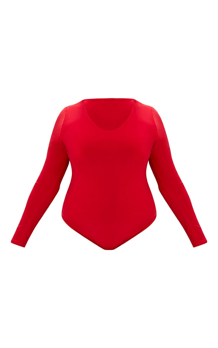 Plus Red Slinky Long Sleeve Bodysuit  3