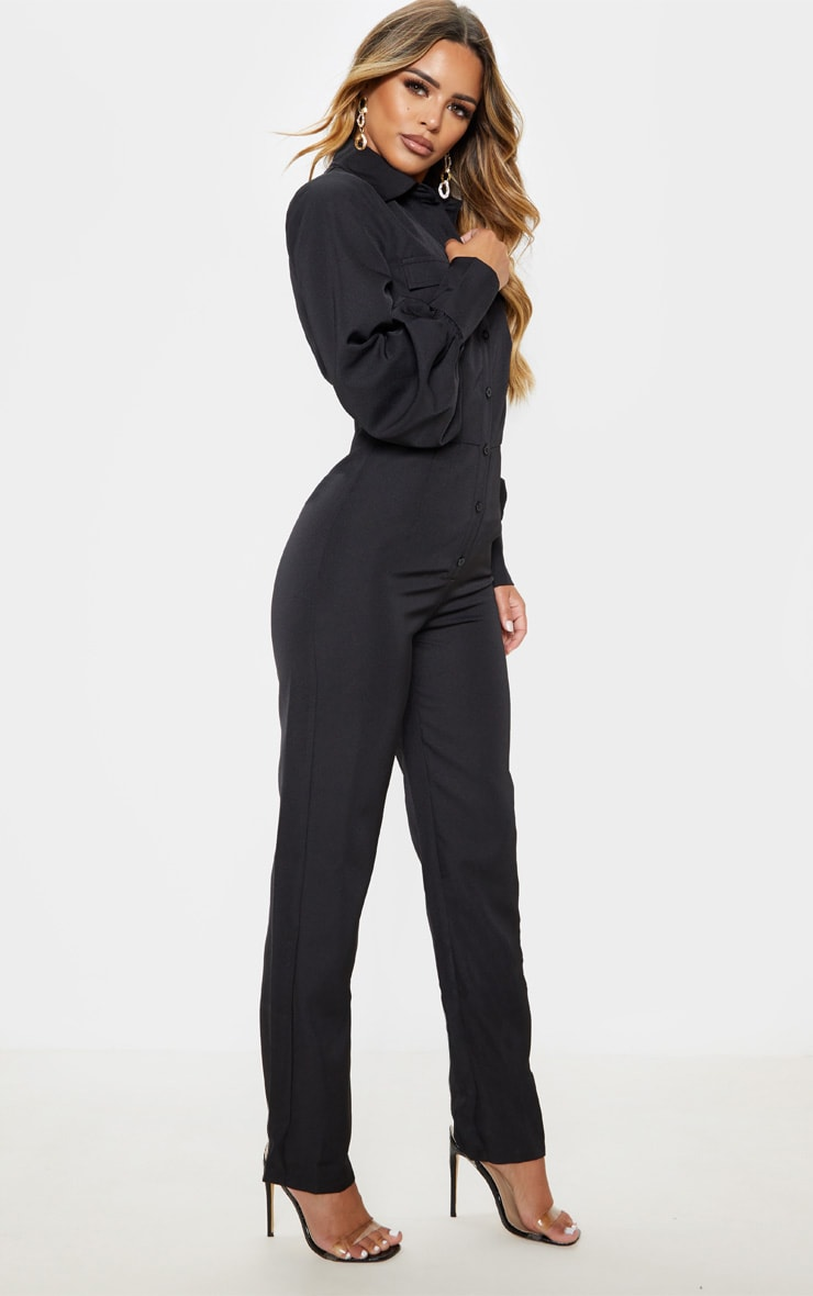 Petite Black Full Sleeve Pocket Detail Jumpsuit 4