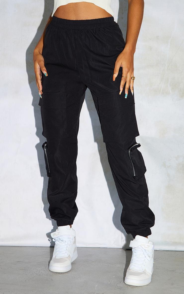 Black Woven Elasticated Waist Joggers 2