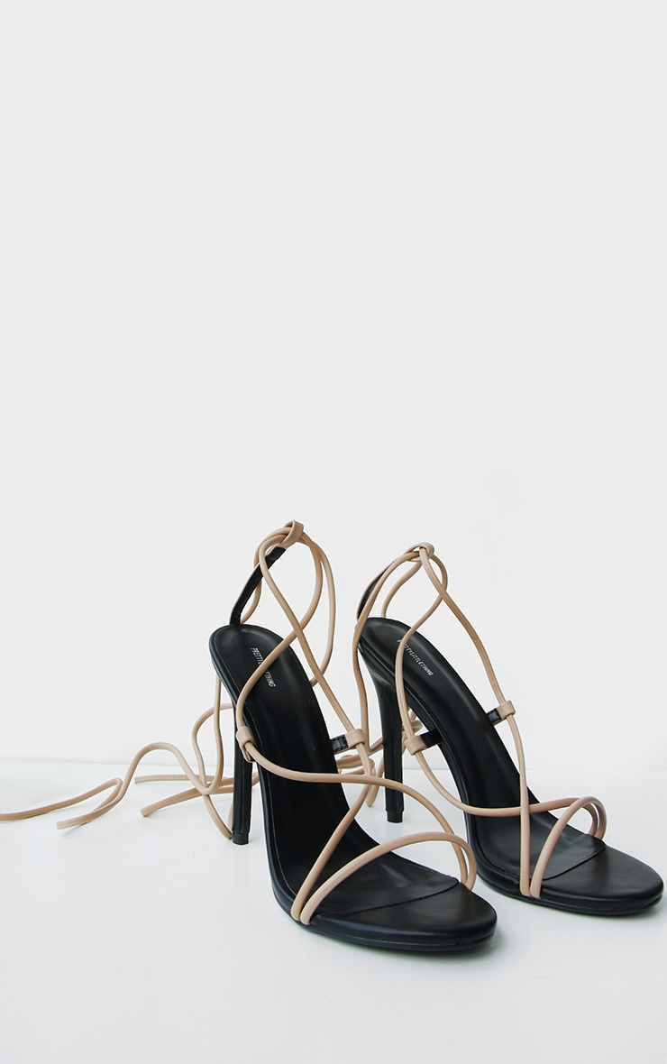 Nude Contrast PU Strappy Stiletto Heel 2