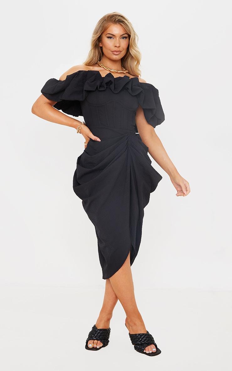 Black Textured Woven Frill Edge Draped Midi Dress 1