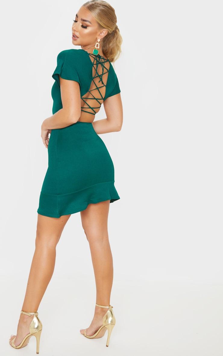 Emerald Green Criss Cross Crepe Back Frill Hem Dress