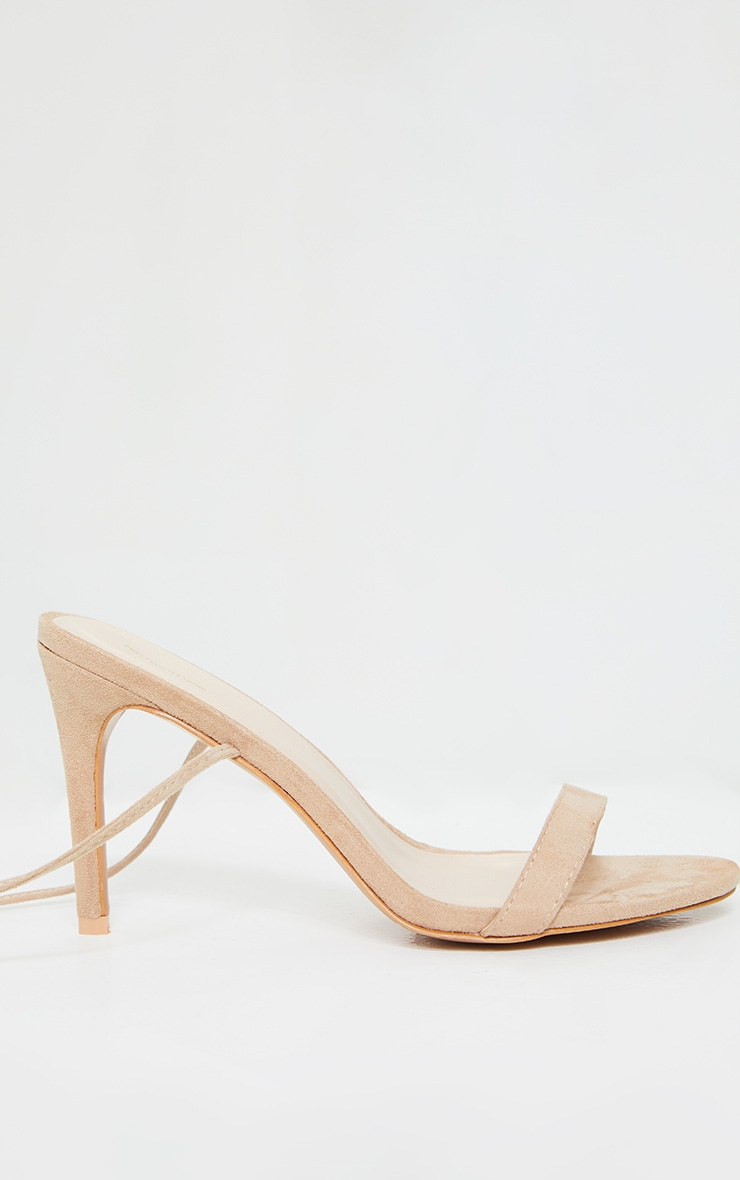 Sand Wide Fit Barely There Ankle Tie Strappy Sandals 3