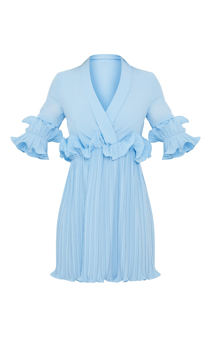Baby Blue Frill Detail Pleated Skater Dress 5