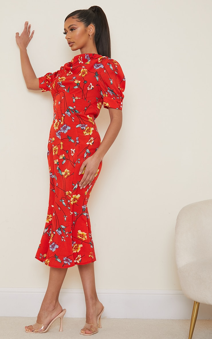 Red Floral Print Puff Sleeve Draped Neck Midi Dress 3