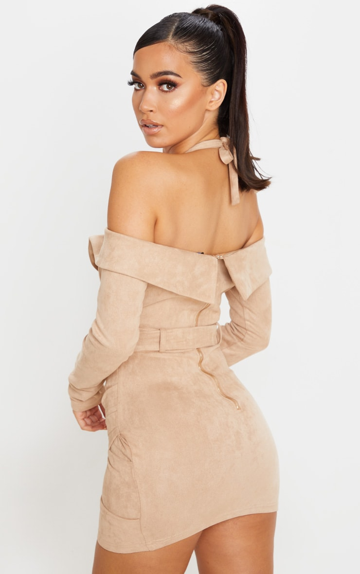 Stone Faux Suede Bardot Dress 2