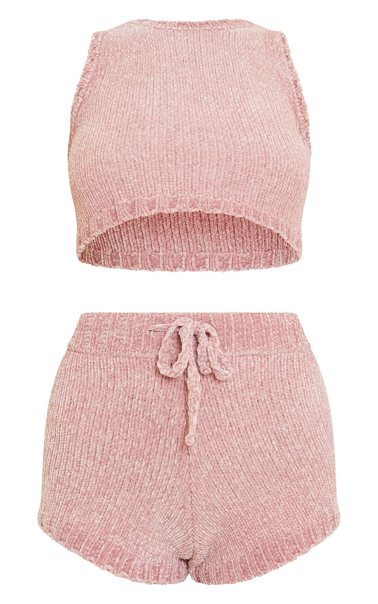 Blush Chenille Knitted Short Lounge Set 5