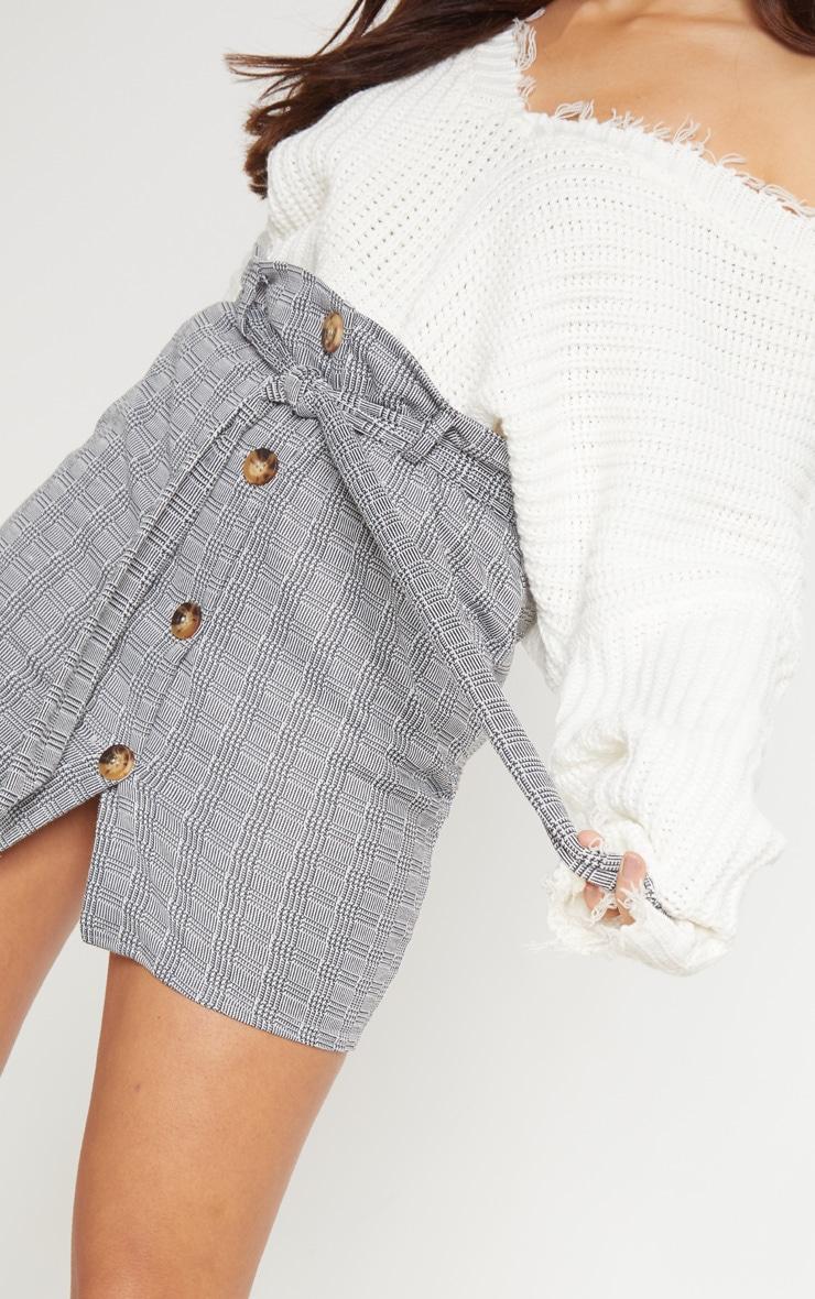 Grey Check Button Front Tie Waist Mini Skirt 6