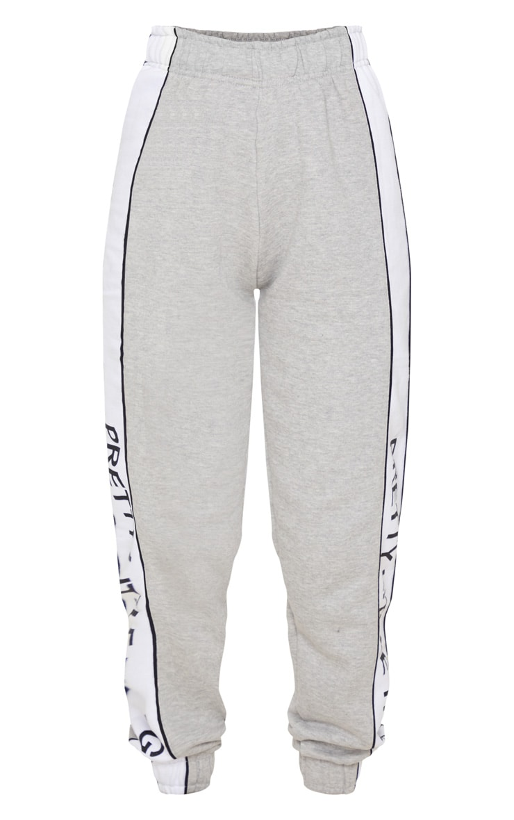 PRETTYLITTLETHING Grey Side Stripe Jogger 3