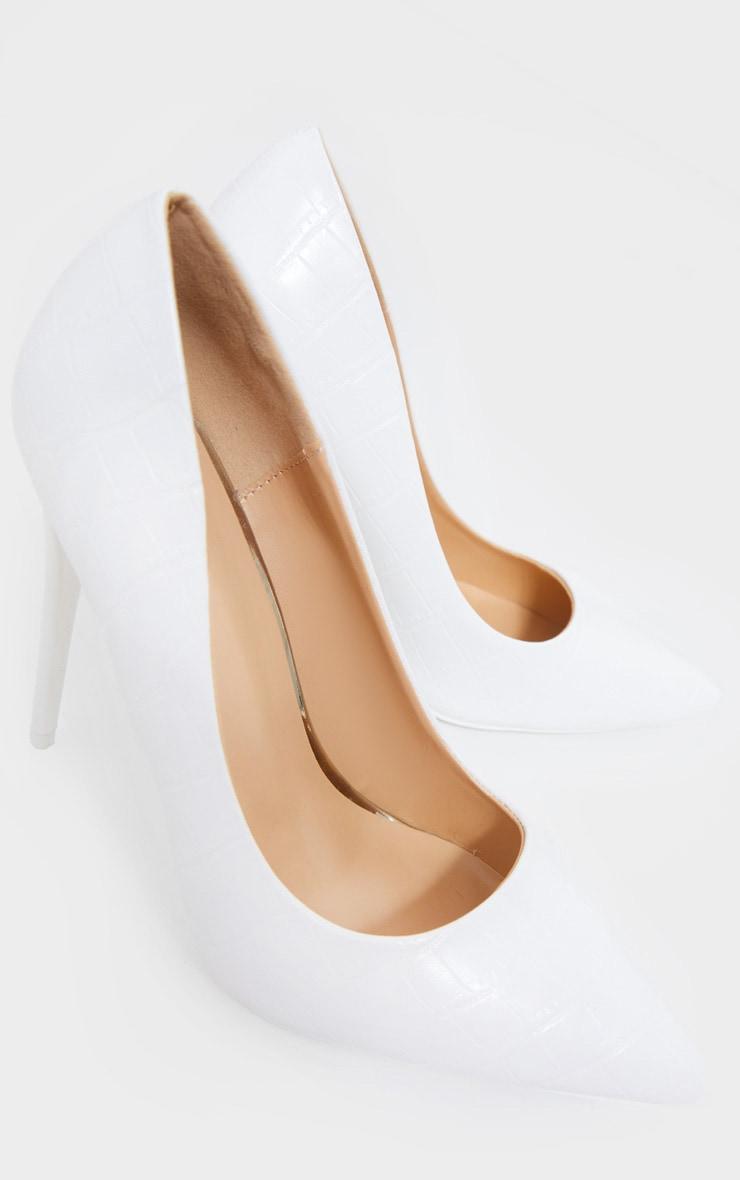 White Croc Matte PU High Court Heel Shoes 4
