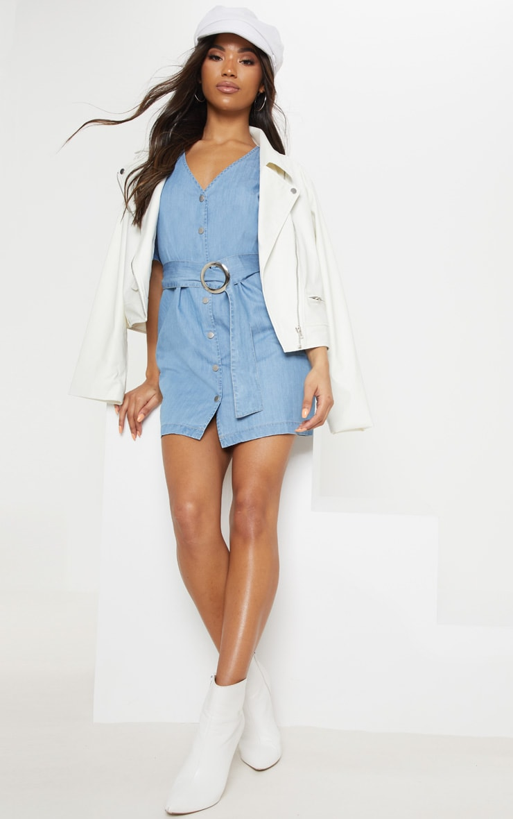 Light Wash Buckle Denim Dress 4