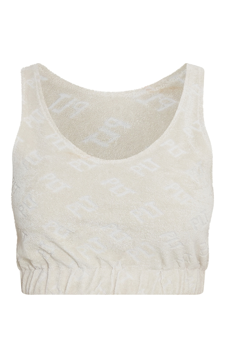PRETTYLITTLETHING Stone Embossed Towelling Elasticated Crop Top 5