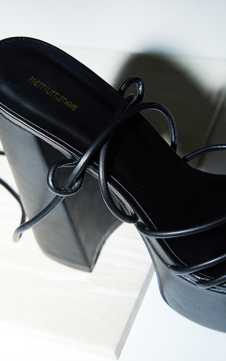 Black PU Round Toe Strappy Platform Heel Sandals 4