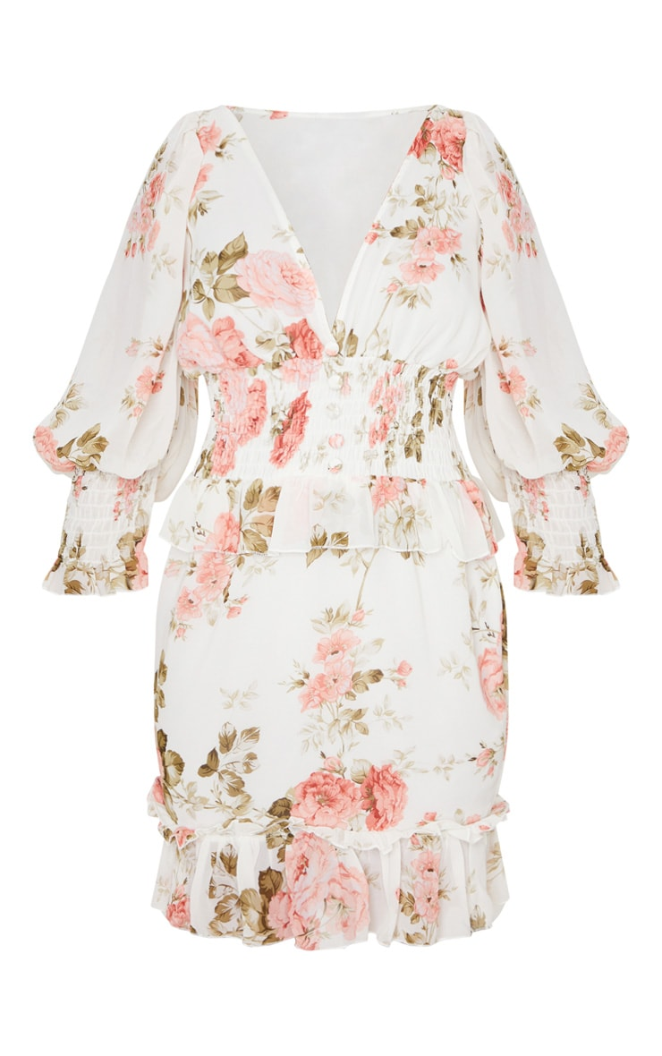 Petite Cream Floral Button Detail Puff Sleeve Chiffon Dress 3