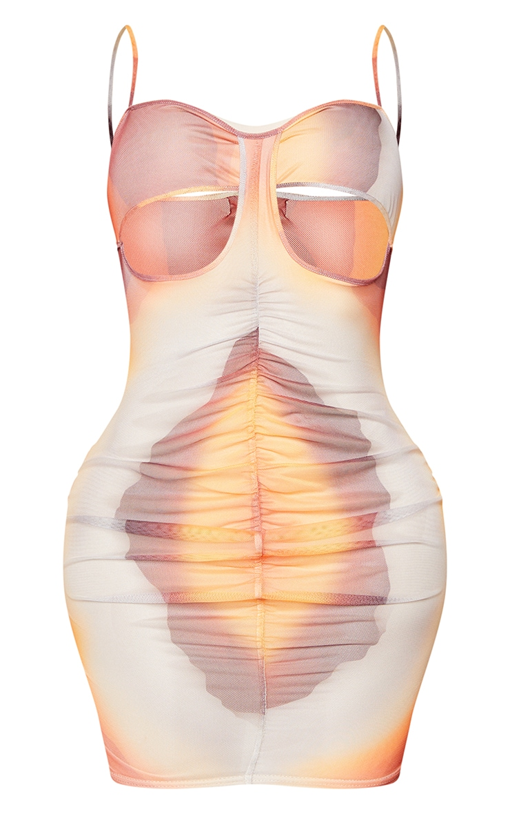 Shape Orange Ombre Print Mesh Ruched Cut Out Bodycon Dress 7