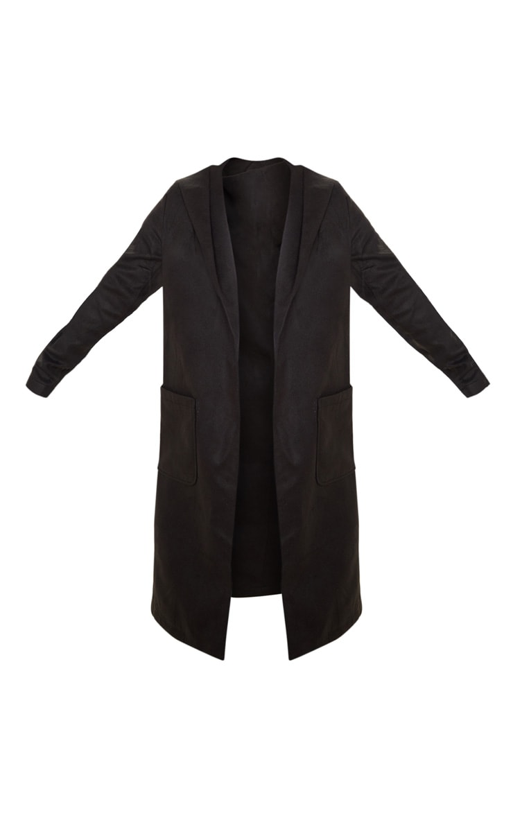Petite Waterfall Black Hooded Coat  3
