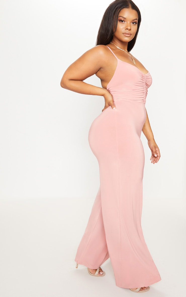 Plus Blush Slinky Ruched Top Jumpsuit 4