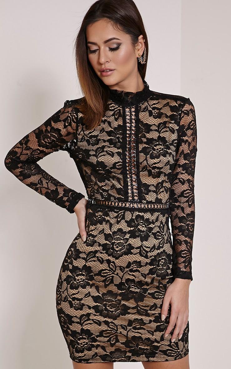 Melinda Black Open Back Lace Mini Dress 1