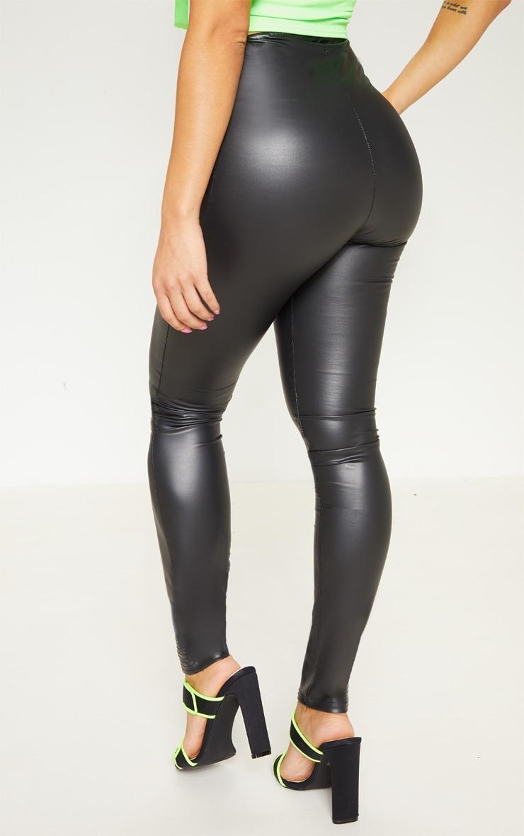 Petite Black PU V Front Legging 4