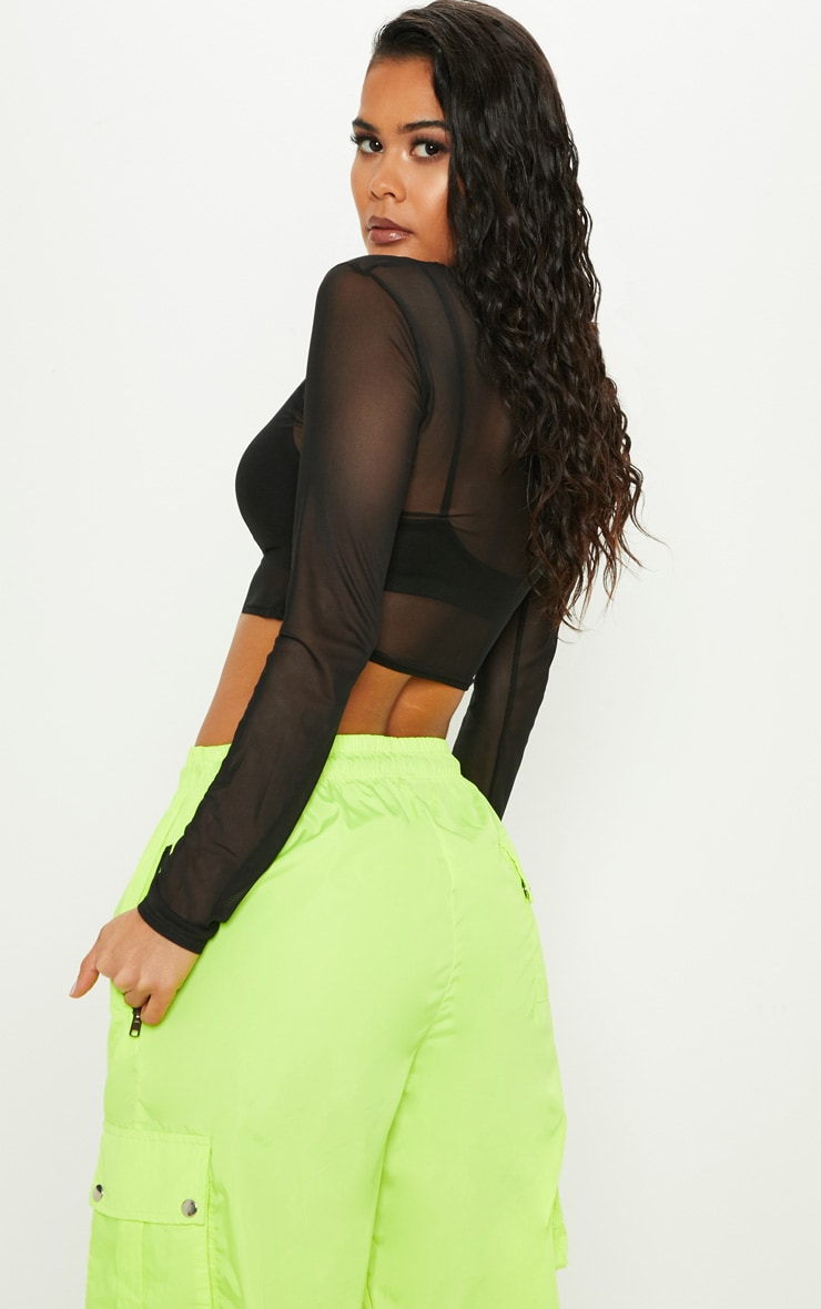Black Mesh Ruched Front Long Sleeve Crop Top 2