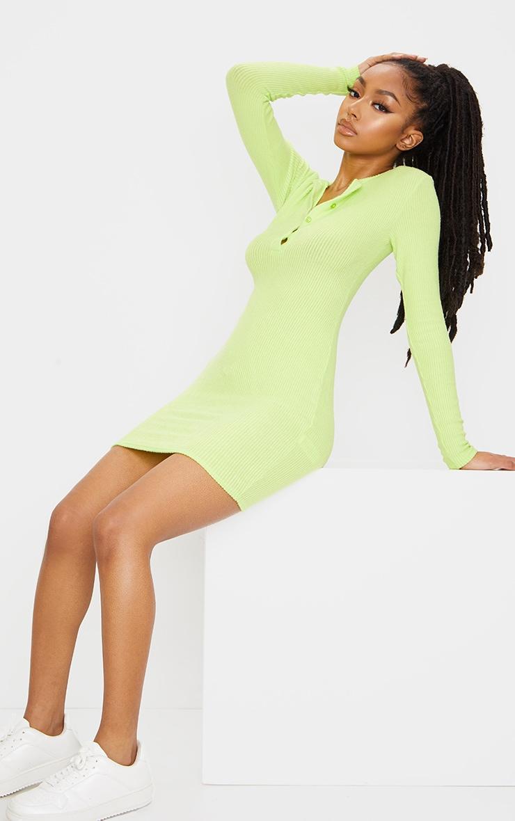 Lime Brushed Rib Long Sleeve Bodycon Dress