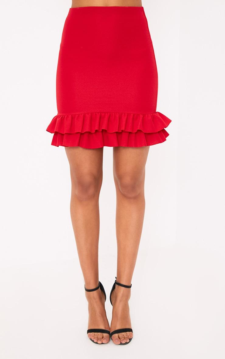 Rhya Red Double Frill  Hem Mini Skirt  2