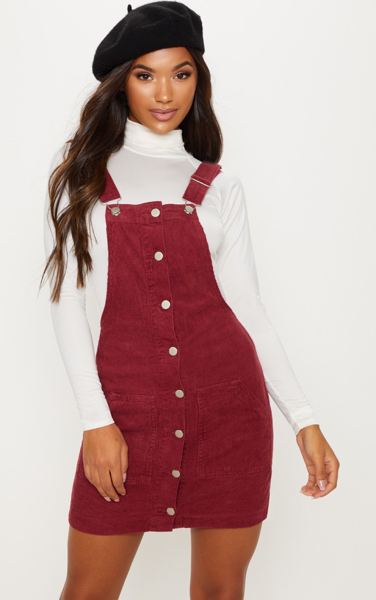 Burgundy Cord Pinafore 1