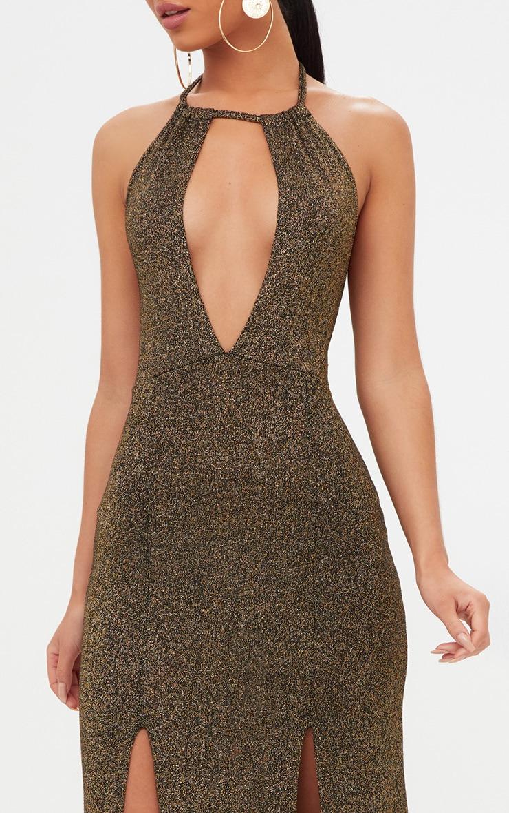 Gold Glitter Lurex Halterneck Maxi Dress 5