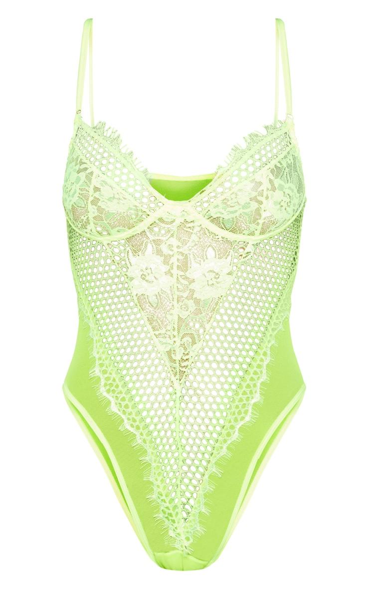 Neon Lime Eyelash Lace & Fishnet Body 6
