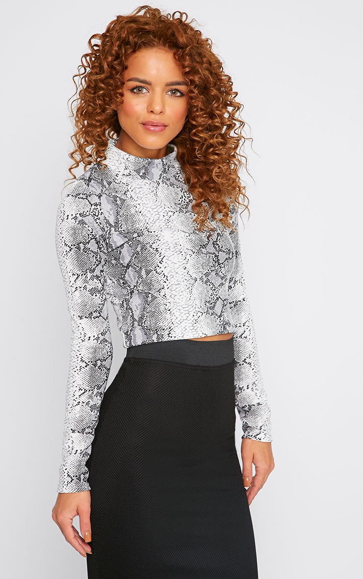 Chelsea Snake Print High Neck Crop Top  3