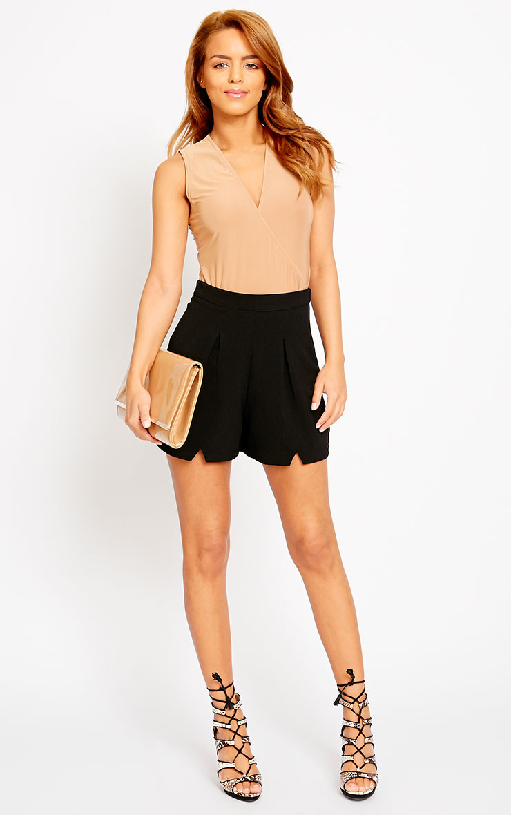 Raissa Black Notch Front High Waist Shorts 5