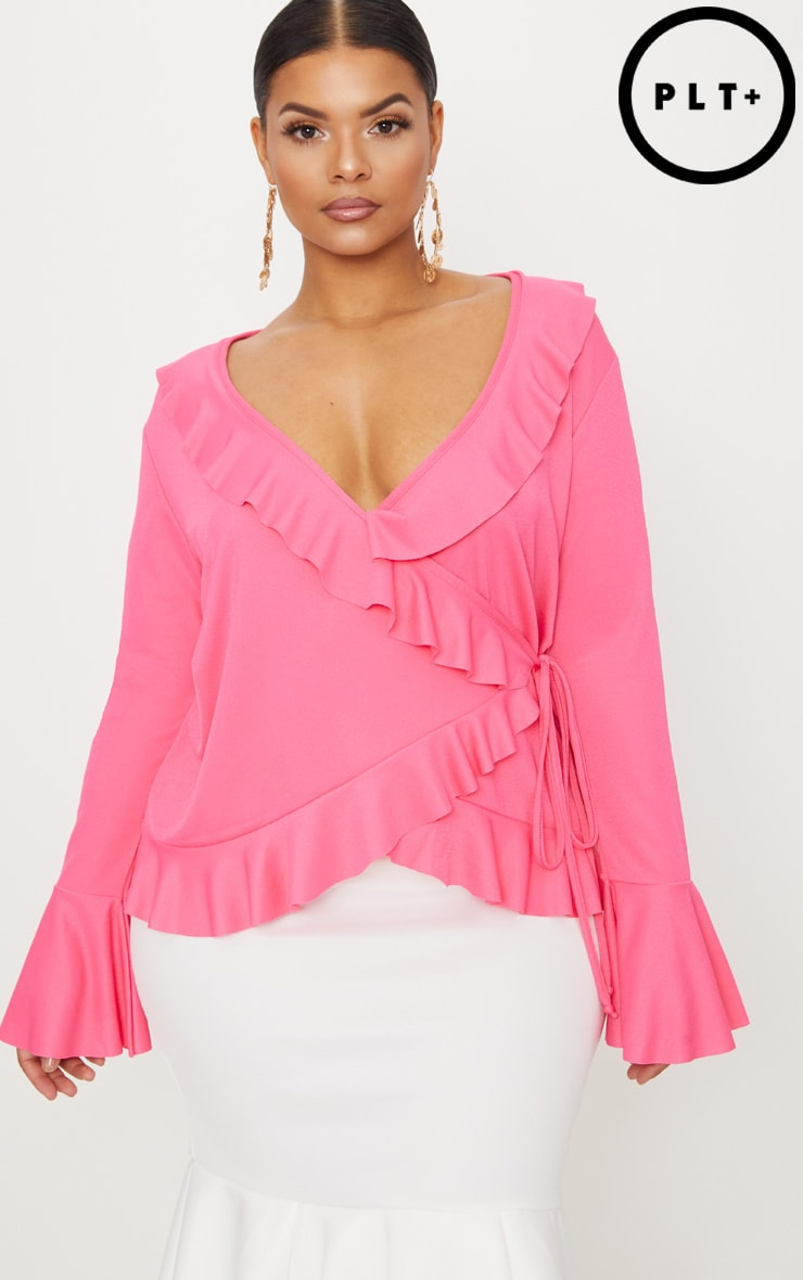Plus Hot Pink Long Sleeve Wrap Detail Top 1