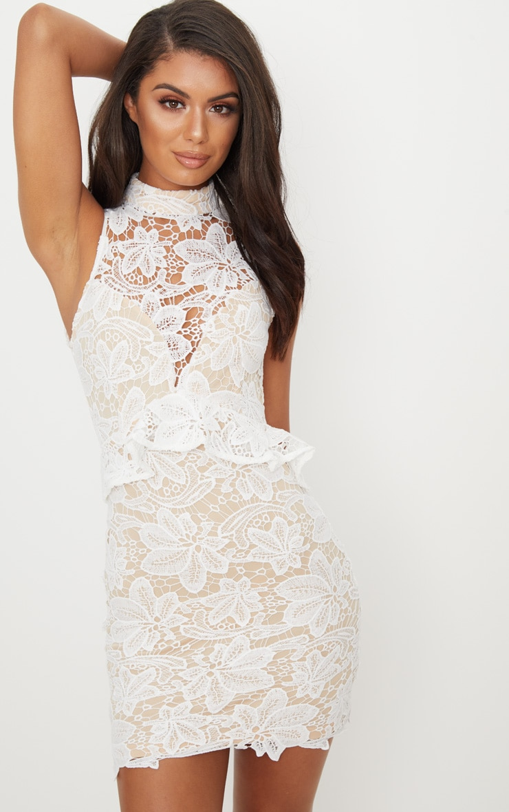 White Lace High Neck Frill Detail Bodycon Dress 1