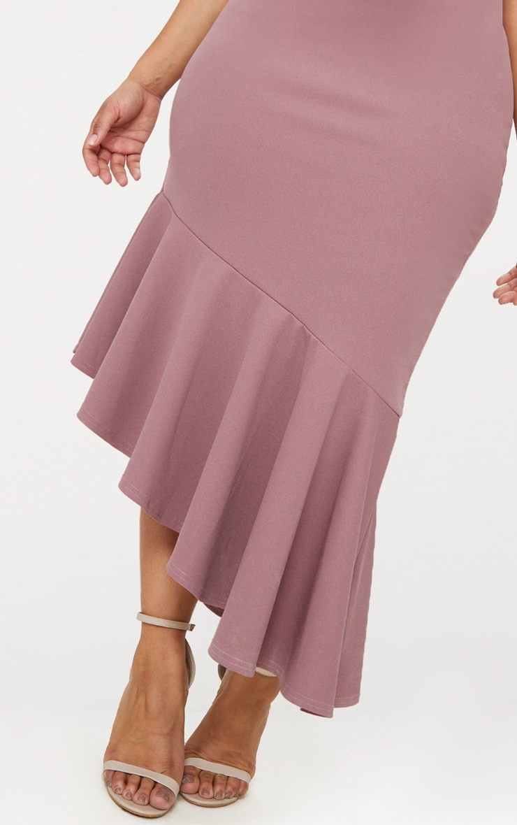 Plus Mauve Strappy Asymmetric Hem Midi Dress 5