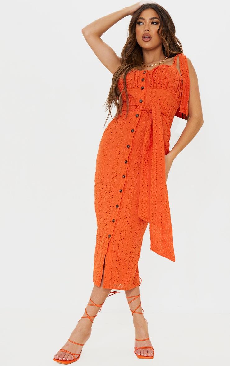 Orange Broderie Anglaise Tie Shoulder Button Down Midi Dress 3