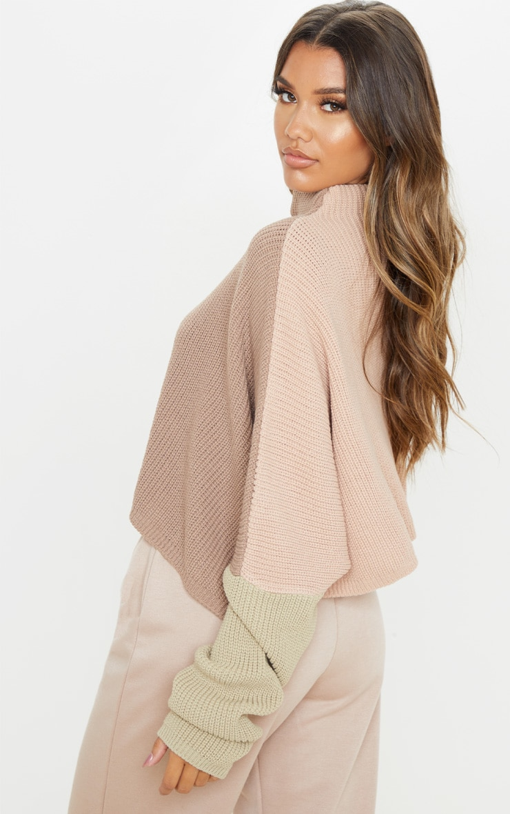 Stone Oversized Colourblock Jumper 2
