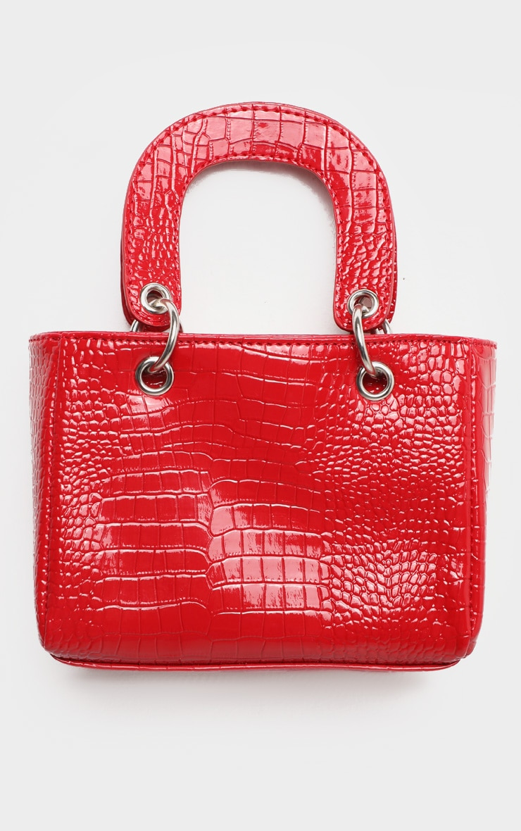 Red Patent Croc Ring Detail Mini Handbag 2