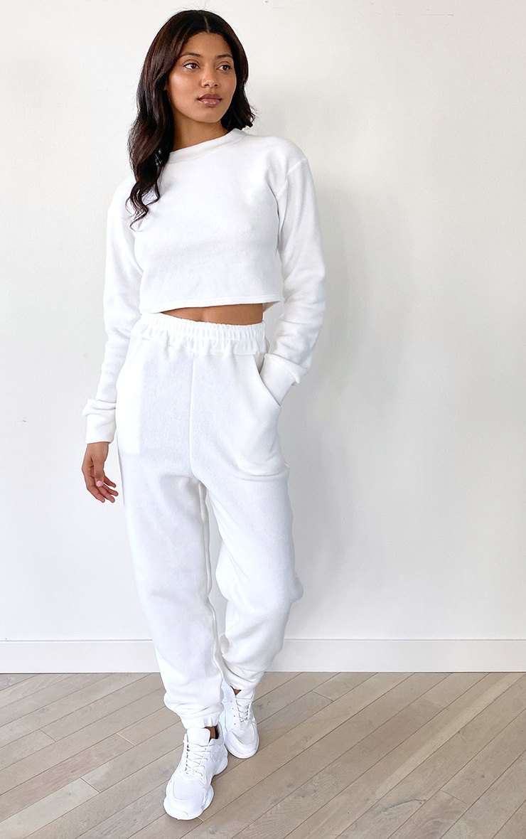 Tall White Cropped Sweat and Jogger Set 3